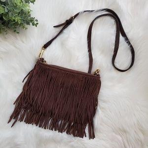 Rebecca Mincoff Fin leather fringe crossbody bag